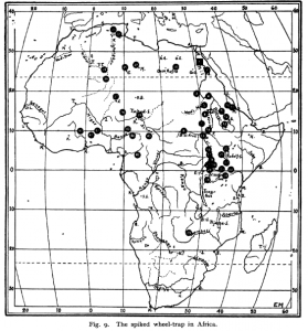 Spridningskarta över hjulformad spikfälla i Afrika. s. 631 i Lindblom, G. (1935). The spiked wheel-trap and its distribution. Geografiska Annaler, 621-633.
